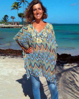 Tunique rayé mozaïque turquoise